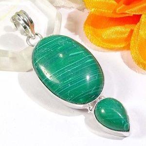 """Jewelry - Malachite Stone Pendant 2.6"""""""